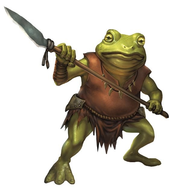 a bullywug with a spear in hand. they're wearing a ripped leather tunic and loincloth and have a necklace of claws