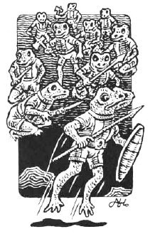 a group of bullywugs bouncing around. they wield spears and shields