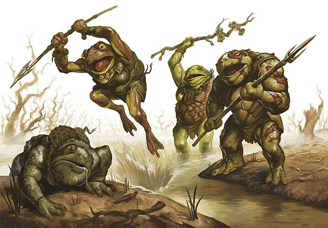 two bullywugs look on as one leaps towards an injured bullywug to deliver the finishing blow