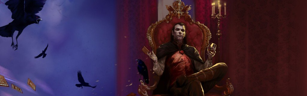 cover art for curse of strahd. the vampire lord strahd sits upon his red throne with a flock of ravens flying in the sky next to him