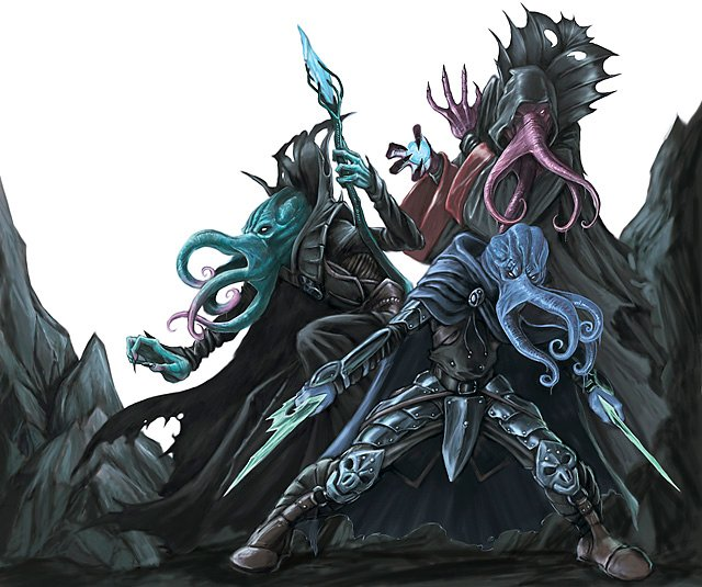 three octopus-like mind flayers stand side-by-side ready to fight. Twoa re spell casters and one is a dual-weidling melee unit