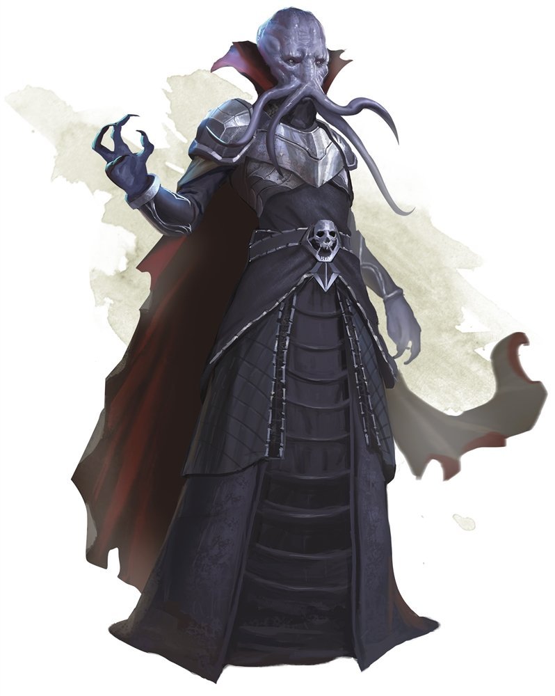 the 5e mindflayer artwork shows a single purple mind flayer in black robes