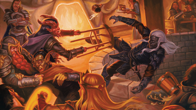a tiefling smacking a drow into a well in a tavern brawl
