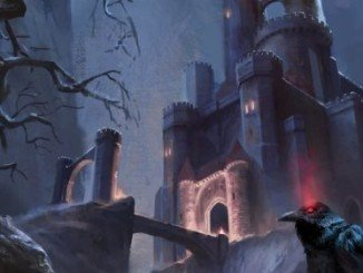 Castle ravenloft in the distance. An enormous castle with a long stone bridge. A raven sits perched in the foreground.