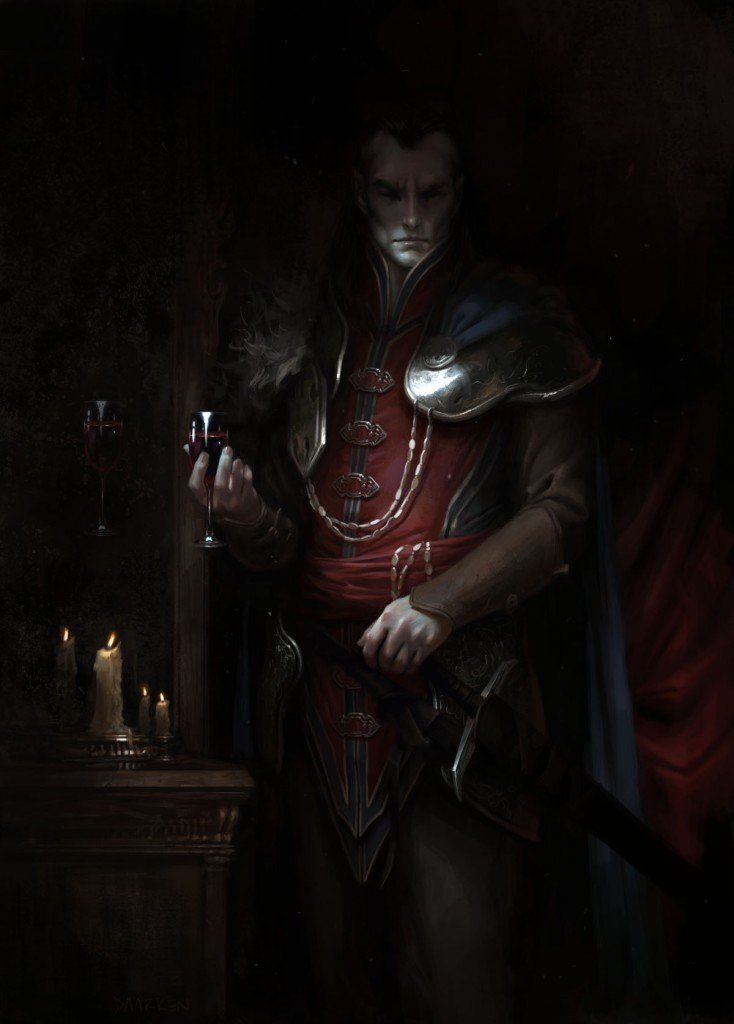 picture of strahd as a human in dark-colored robes with a breastplate holding a glass of red wine