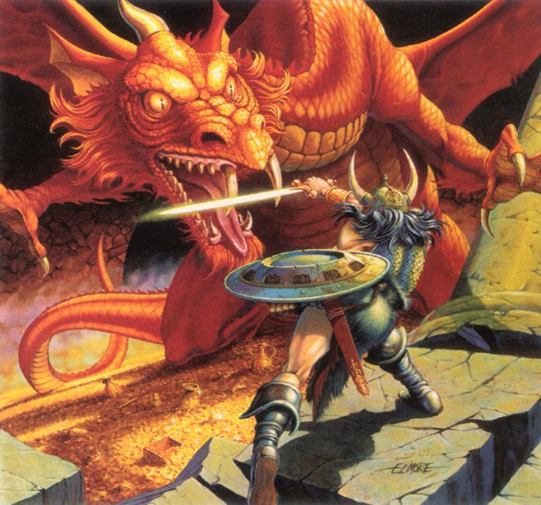 A fighter in a horned helmet wielding a sword clashes with a red dragon