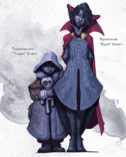 Rose and Thorn Durst. Thorn wears a large coat with a hood up and carries a stuffed skeleton. Rose wears a vampire-like coat and cloak