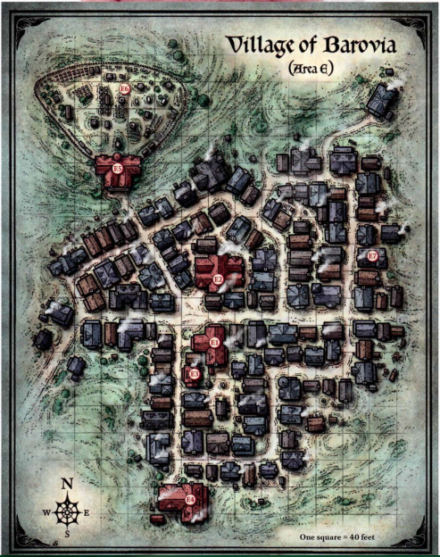 A map of a small, destitute village that resides in the shadow of Castle Ravenloft