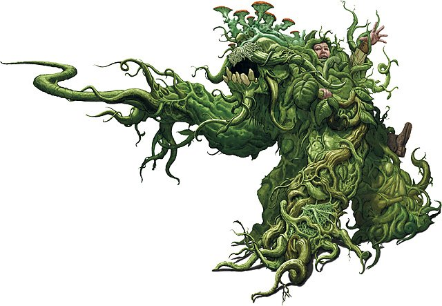 A shambling mound. a pile of green vegetation, vines, etc with an unfortunate adventurer stuck in its body