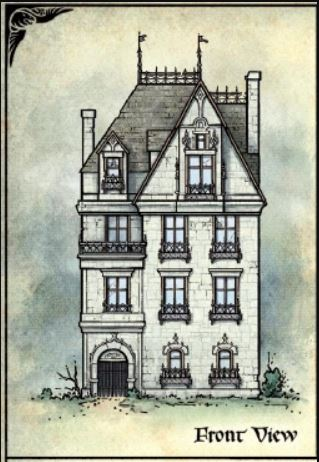 A gothic-style drawing of a tall 3-storey manor
