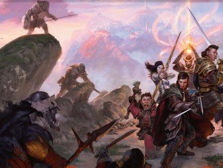 group of adventurers groups together to fight off a pack of ambushing orcs