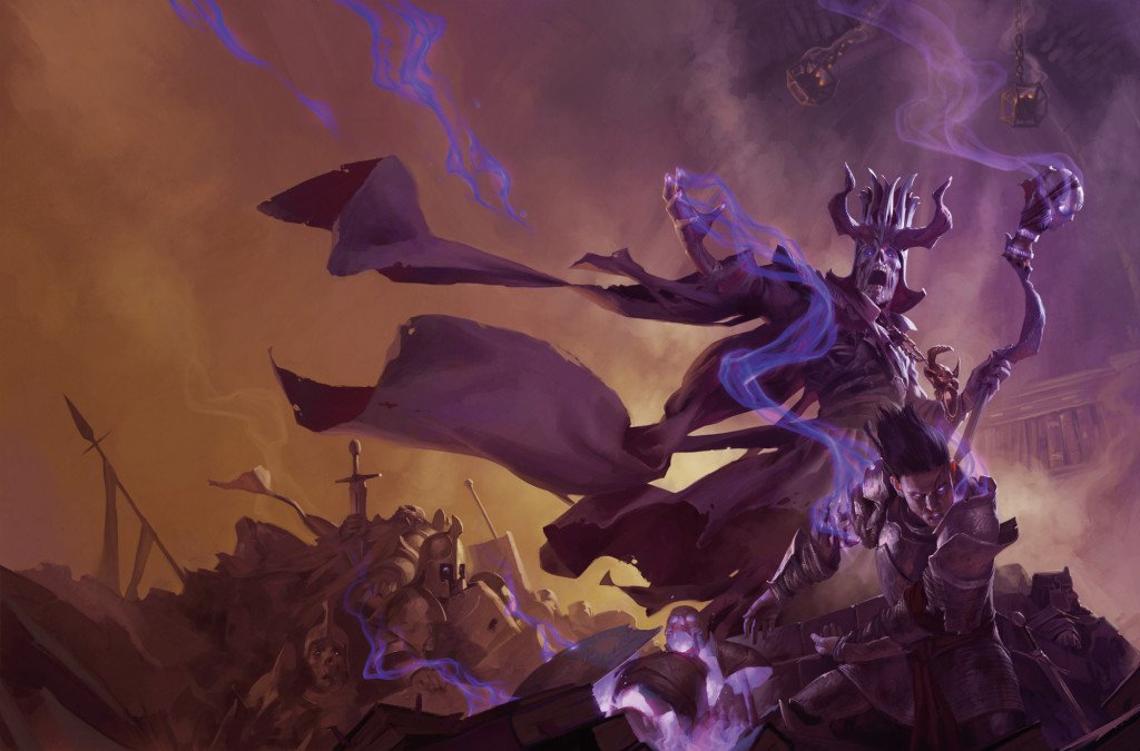 Acererak the infamous lich standing atop a pile of skeletons fighting the party
