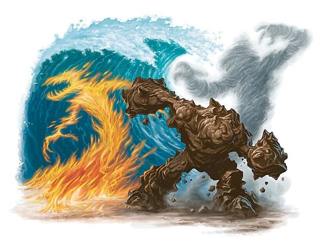 All four elementals striking a pose except for water which is just a wave