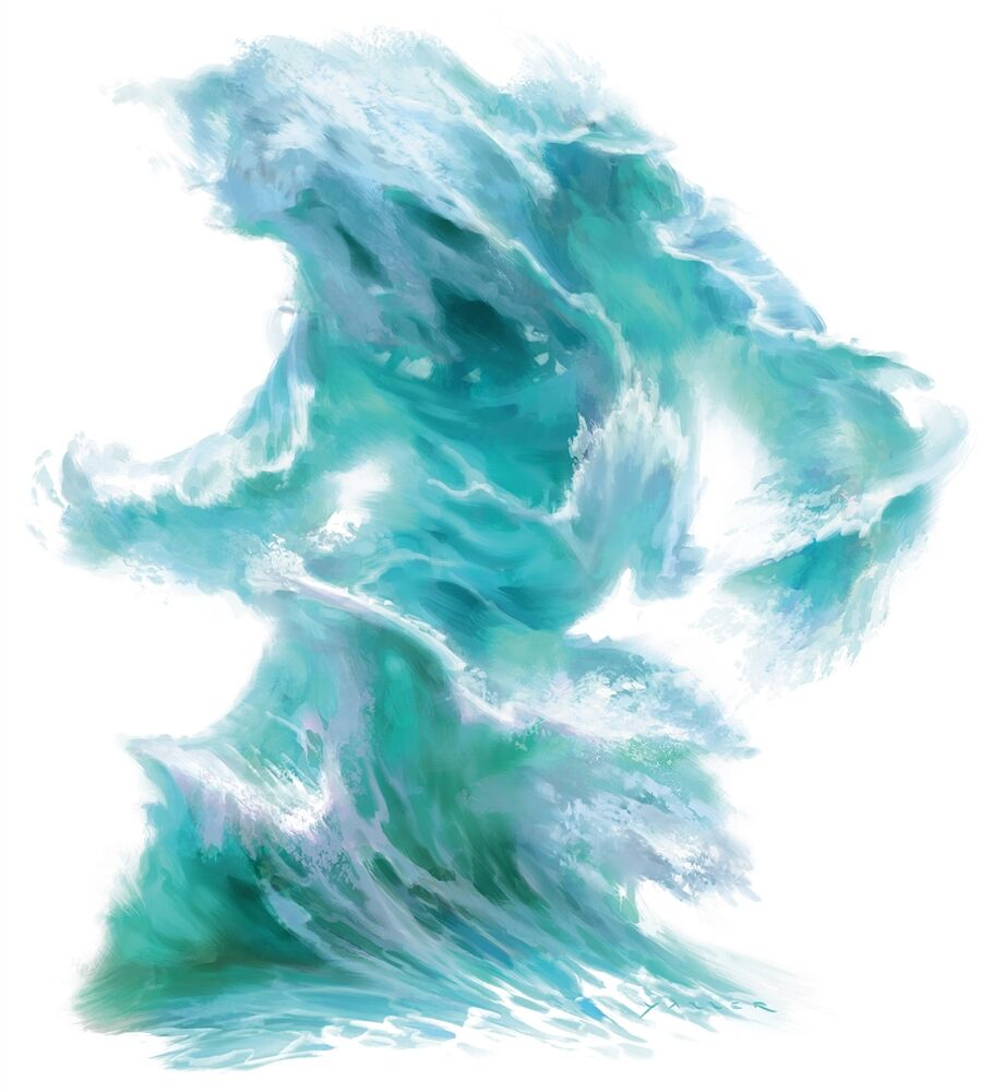 a water elemental taking on a sort-of humanoid shape without any defining features aside from a head and arms
