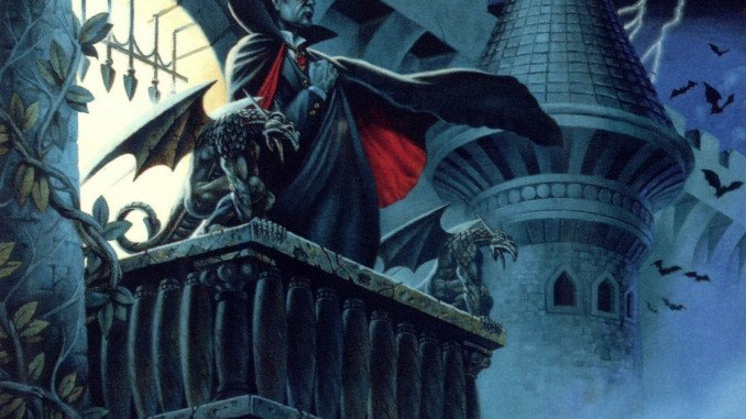 Strahd from 1e standing on the balcony in Castle Ravenloft