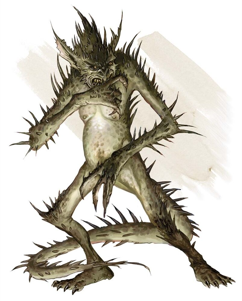 A green impish creature with long spikes protruding from its skin