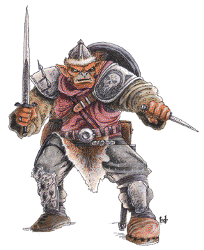 a hobgoblin in a battle stance weilding a longsword and dagger
