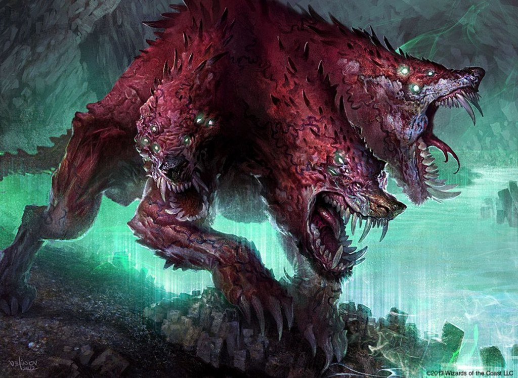 A red, three-headed, dog-looking creature with beady green eyes and sharp teeth