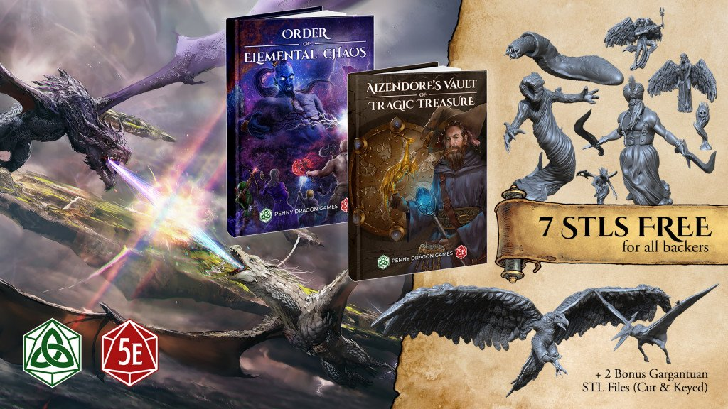 kickstarter launch image that shows the two books and mentioned the 7 STL files included for backers