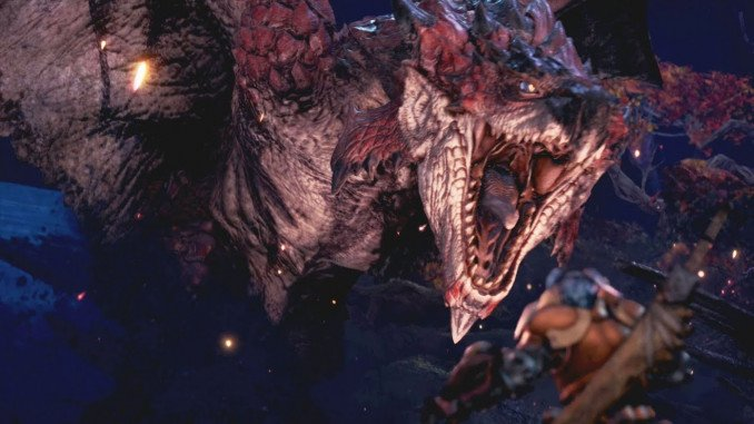 a rathalos, a giant red wyvern from Monster Hunter, roaring at a surprised monster hunter