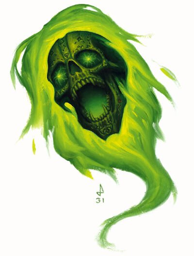 another skull engulfed in green flames