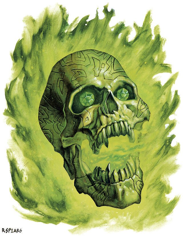 a flaming skull engulfed in yellow-green flames