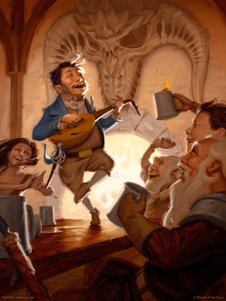A halfling bard signs while playing a lute and dancing on a bar surrounded by cheering people