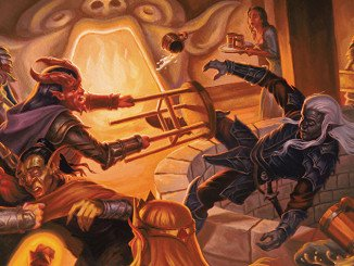 a tiefling hitting a drow with a chair into a bottomless pit in the middle of a tavern
