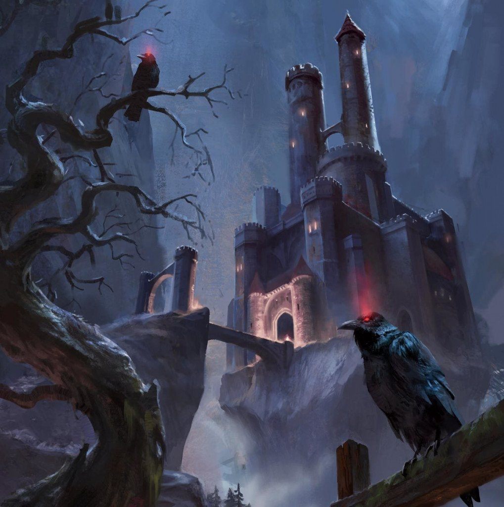 castle ravenloft is in the background of the shot with crows sitting menacingly on the branches of dead trees in the foreground