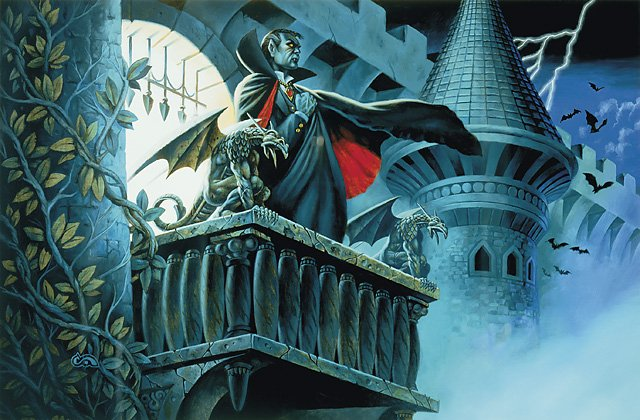 strahd von zarovich looking out from the balcony of castle ravenloft
