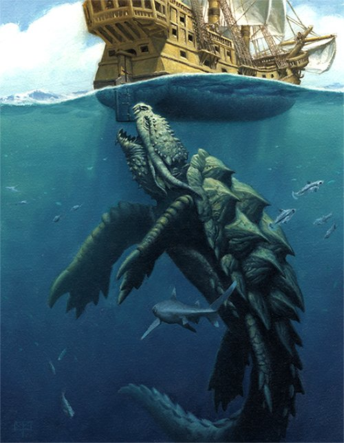 a dragon turtle taking a bite out of a large ship