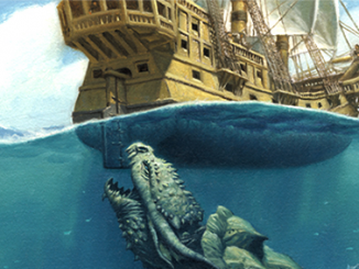 a dragon turtle about to chomp down on a ship