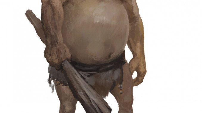 A large beerbellied hill giant wielding a tree trunk as a club