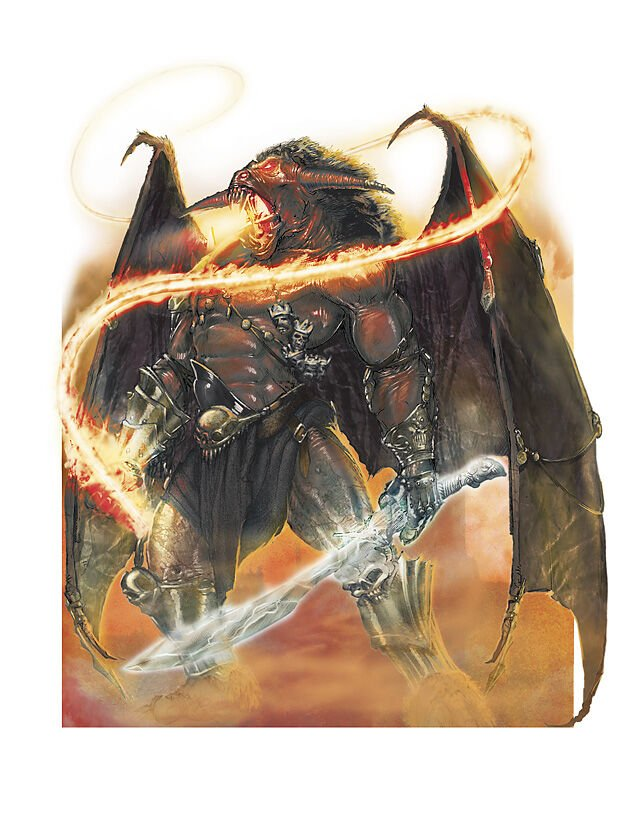 A balor standing tall with their whip and longsword