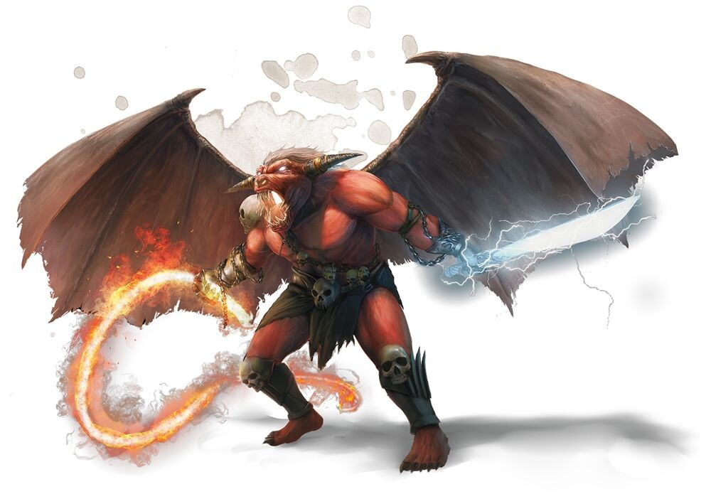 a demon with huge wings and a bull-like face wields a fiery whip and lighting-enchanted longsword